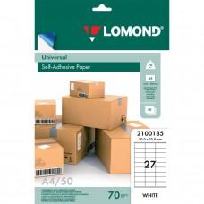 Этикетка самоклеящаяся Lomond 70х32 мм 50 листов по 27 шт белая 2100185 в СПб, Санкт-Петербурге