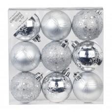 Набор ёлочных шаров INGE'S Christmas Decor 81191G002 d 6 см, серебро (9 шт) в СПб, Санкт-Петербурге