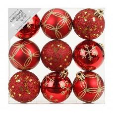 Набор ёлочных шаров INGE'S Christmas Decor 81074G003 d 6 см, красный (9 шт) в СПб, Санкт-Петербурге