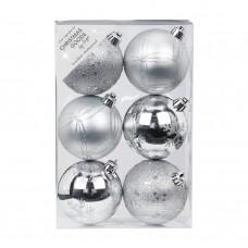 Набор ёлочных шаров INGE'S Christmas Decor 81190G002 d 8 см, серебро (6 шт) в СПб, Санкт-Петербурге