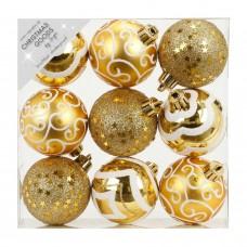 Набор ёлочных шаров INGE'S Christmas Decor 81074G001 d 6 см, золото (9 шт) в СПб, Санкт-Петербурге